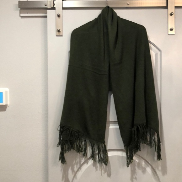 Sold Forest Green fringed wrap/scarf.